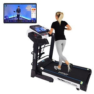 Fitkit FT200 (4.5HP Peak) DC-Motorised Treadmill ( Max Speed 16kmhr, Max Weight 110 Kg ) With Free home installation and Connected Live interactive Sessions by Onefitplus